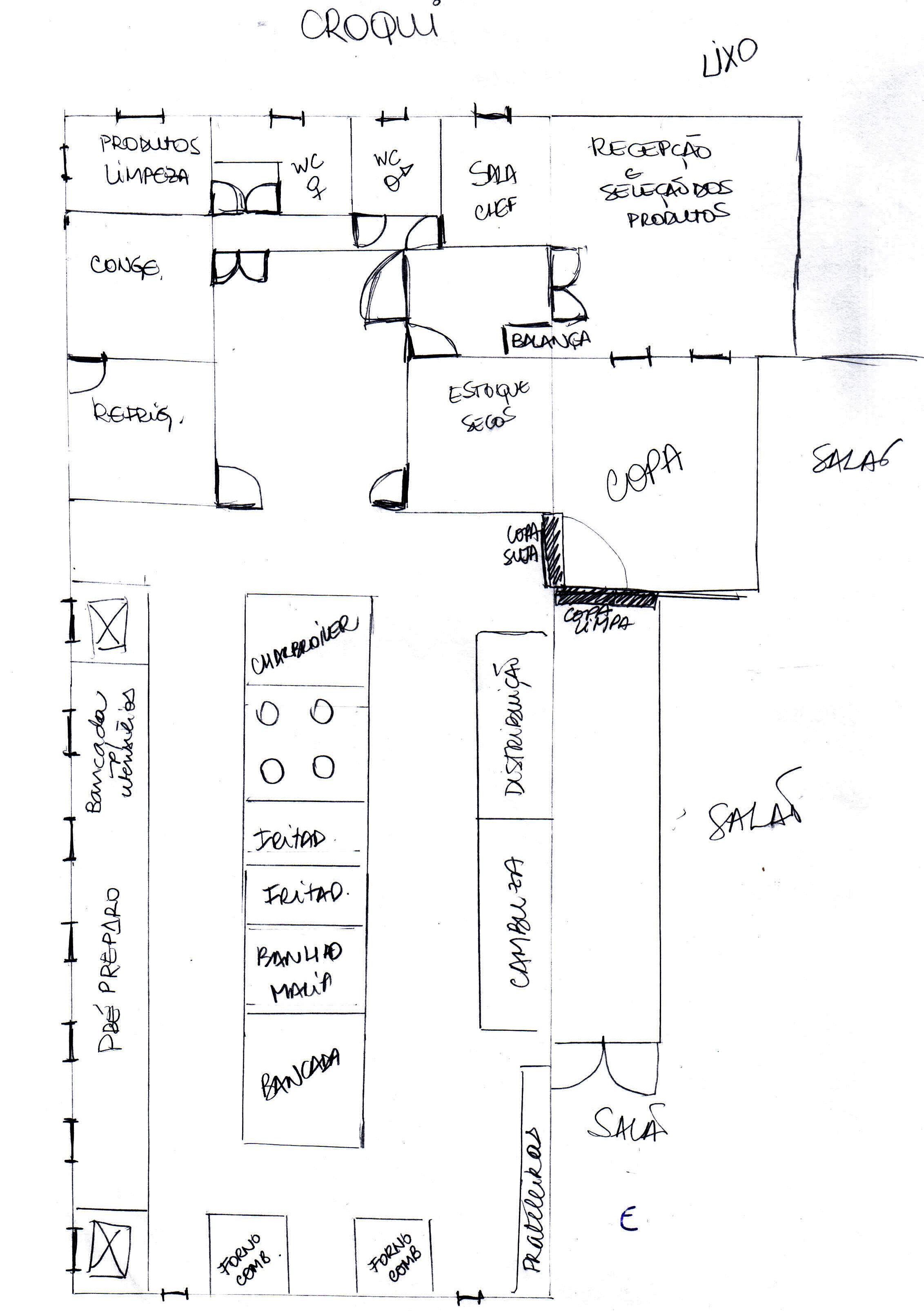 ! Nosso Croqui Anteprojeto e ampliação de uma cozinha profissional #303037 2263 3209